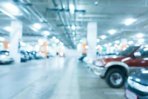 Abstract blur car parking in shopping mall photo