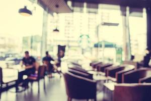 Abstract defocused with blur and bokeh in coffee shop photo