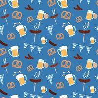 Oktoberfest pattern. Beer festival food and flag. Seamless Oktoberfest background. Vector illustration