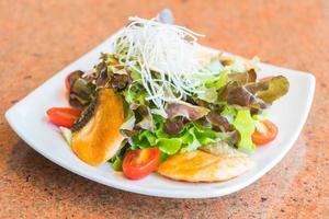 Fried salmon salad photo