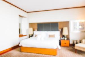 Desenfoque abstracto y decoración desenfocada en el interior de la habitación del hotel foto