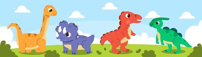 Cute baby dinosaur illustration set vector