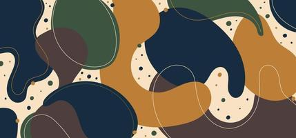 Abstract modern template blue, green and yellow organic dynamic shapes pattern elements compositions of colored spots and lines background vector