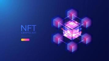 Isometric NFT, future of art vector