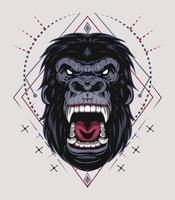 Illustration, ferocious gorilla head with sacred geometry vector