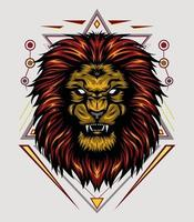 vector lion head with ornament background. king of lion illustration for shirt design