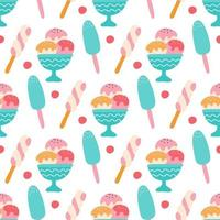 Colorful ice cream with berries on a white background. Vector seamless pattern. Wallpaper, packaging paper design, fabrics