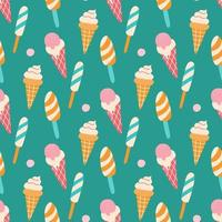 Colorful ice cream on a stick and in a waffle cone with berries on a green background. Vector seamless pattern. Wallpaper, packaging paper design, fabrics