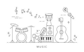 instruments on stage. Black line icon design on white background. flat design style minimal vector illustration.