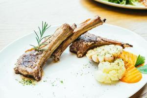 Grilled lamb meat chop steak photo