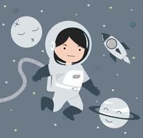 Astronaut flying in space background  design vector