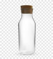 Realistic 3D model of Glass bottle with lid on transparent Background. Vector Illustration