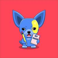Cute chihuahua dog holding book and pencil vector