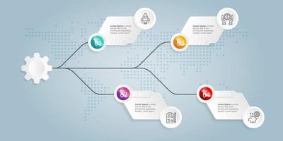 plantilla de elemento de presentación de infografía horizontal vector