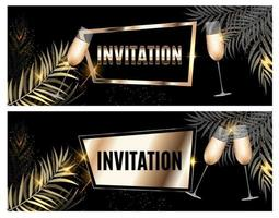 Vintage Luxury Golden Ornate Invitation with Palm Leaf and Glasses of Champagne Template Vector Illutsration