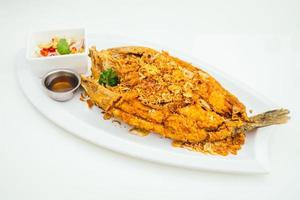 Fried sea bass meat fish with sauce photo