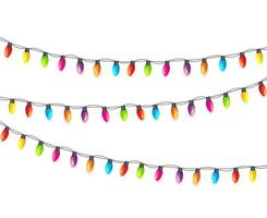Multicolored Garland Lamp Bulbs Festive Isolated vector