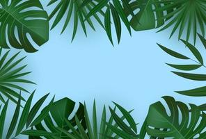 Natural Realistic Green and Gold Palm Leaf Tropical Background. Vector illustration EPS10