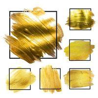 Golden Grunge Brush paint ink stroke with square frame backgrounds set. Vector Illustration