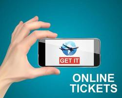 Hand holding a mobile phone. Buy air tickets online concept. Vector Illustration