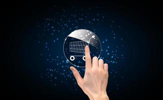 Realistic 3D Silhouette of hand with shopping icon. Vector Illustration