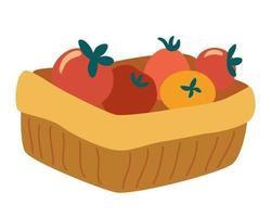 Basket of tomatoes. Vegetarian nutrition market concept. Organic healthy food harvest delivery package. Vector flat illustration for a farm produce store postcards posters and printing.