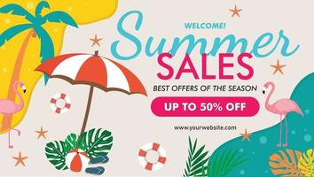 Tropical summer summer sale banner template vector