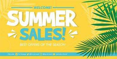 Flat summer sale banner template Vector