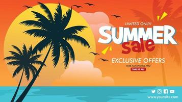 Vector Banner template for summer sale
