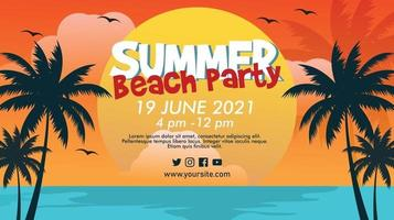 Horizontal vector banner template for summer beach party