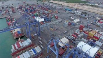 aerial cargo container landscape drone view video