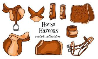 Horse harness a set of equestrian equipment saddle bridle blanket protective boots in cartoon style vector