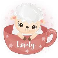 Cute little sheep in watercolor illustration vector