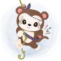 Cute baby monkey in watercolor illustration vector