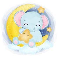 Cute baby elephant in watercolor illustration vector