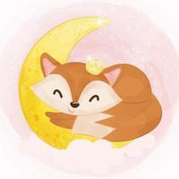 Cute baby fox in watercolor illustration vector