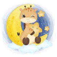 Cute baby giraffe in watercolor illustration vector