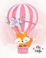Adorable baby fox flying with air balloon vector