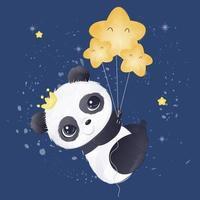 Adorable baby panda illustration in watercolor vector