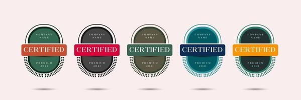 Certified badge logo design for company training badge certificates to determine based on criteria. Set bundle certify with vintage style vector illustration template.