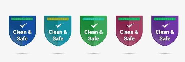 clean and safe assurance badge design. safety emblem logo template. clean icon vector illustration.