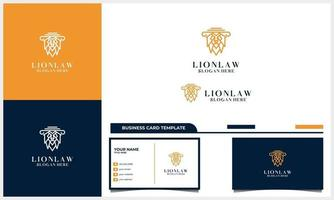 line art lion head with attorney law logo concept with business card template vector