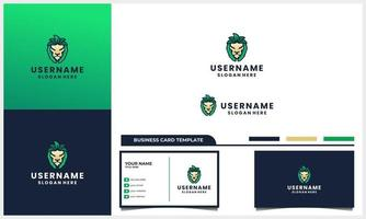 lion head with nature leaf or leaves logo concept and business card template vector