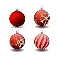 Set of 3d Christmas Tree Bauble Icons vector
