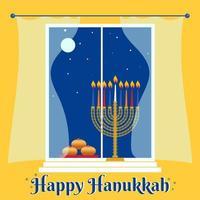 Happy Hanukkah greeting card with hanukkah traditional menorah, candles donuts house window and night sky vector