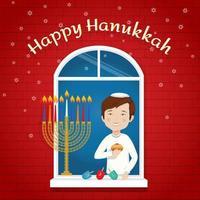 Happy Hanukkah Greeting card Jewish holiday boy with traditional symbols vector