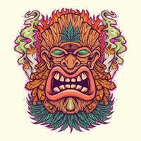 Angry Tiki Leaf Weed mascot with Cannabis Smoke vector