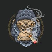 cool gorilla smoking grunge chain background vector