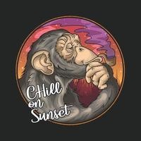 cool chimpanzee smoke pipe on summer sunset illustration vector