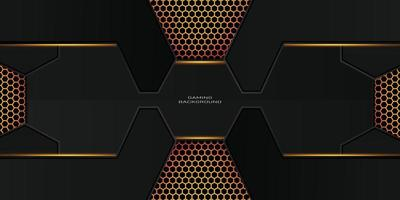 dark gold gaming background with hexagon pattern vector